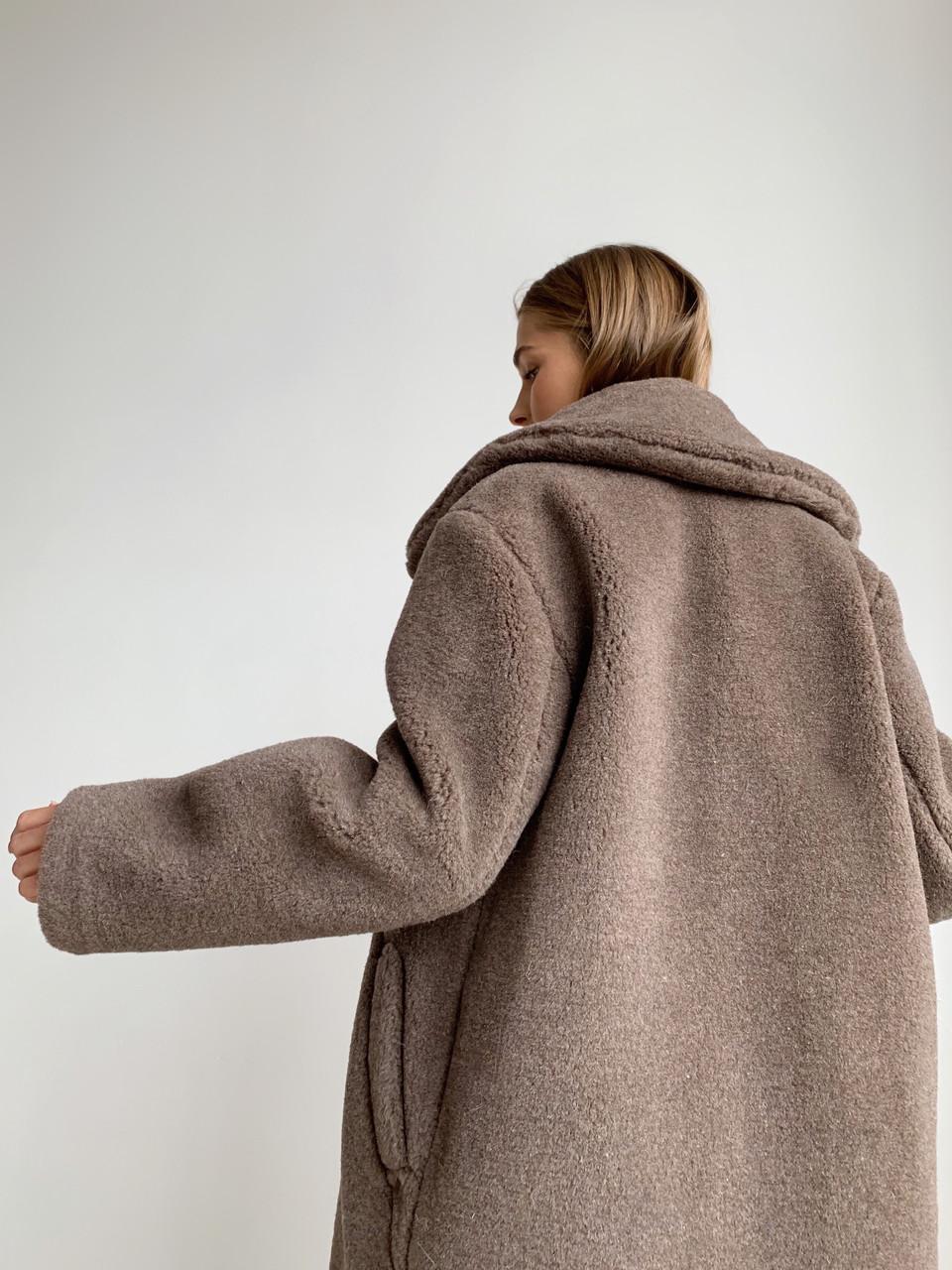 """Шуба из натуральной стриженой овечьей шерсти, длина 115 см, """"кокон"""", кофейный цвет - фото 6"""