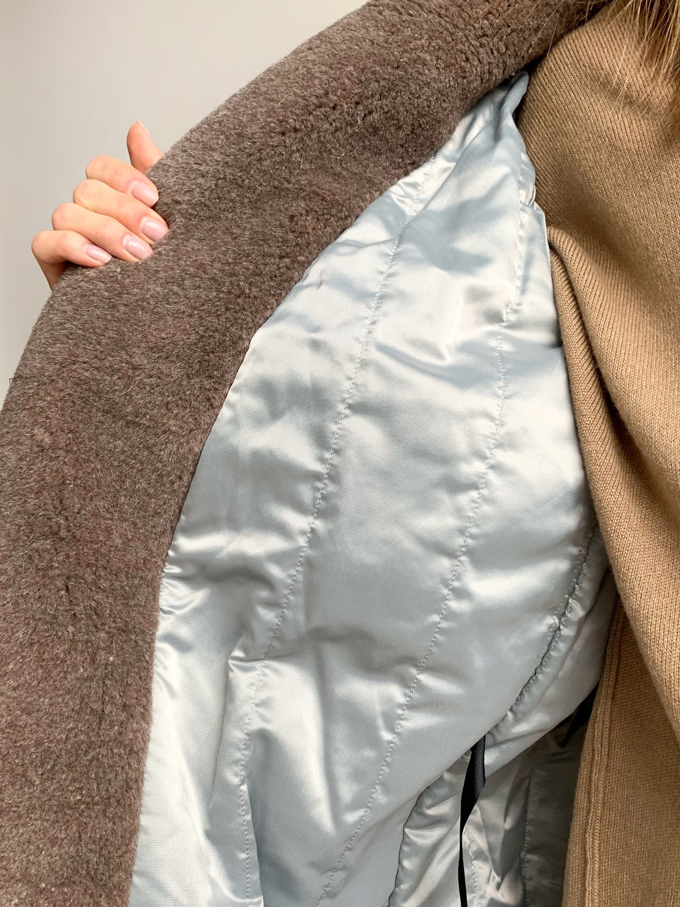 """Шуба из натуральной стриженой овечьей шерсти, длина 115 см, """"кокон"""", кофейный цвет - фото 5"""