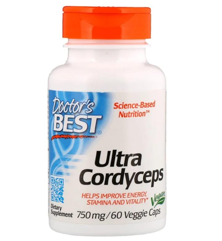Doctor's Best, Ultra Cordyceps, 750 мг, 60 растительных капсул