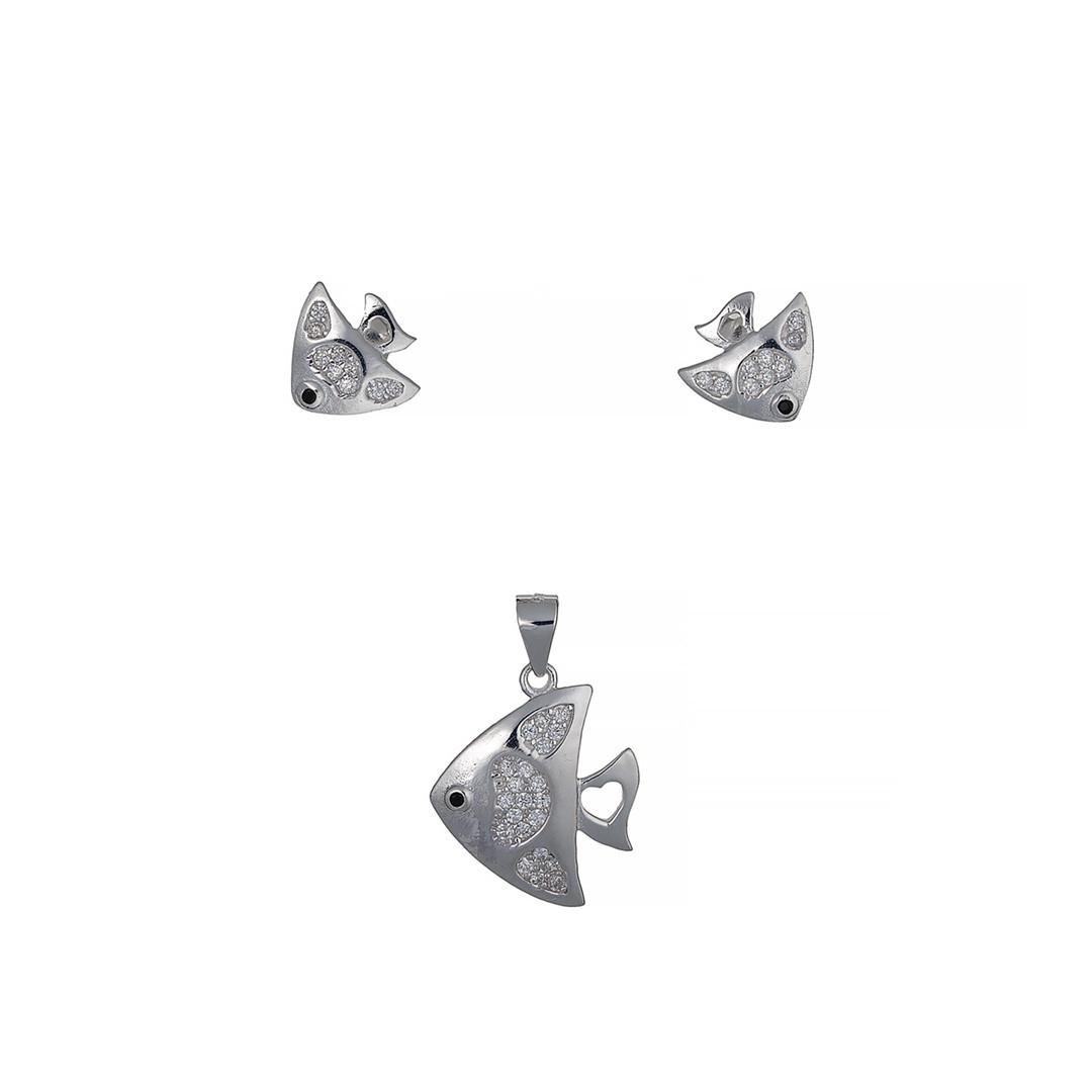 """Набор (комплект) """"Рыбки"""" гвоздики (пусеты). Вставка: белые фианиты, вес: 4,1 покрытие родий"""