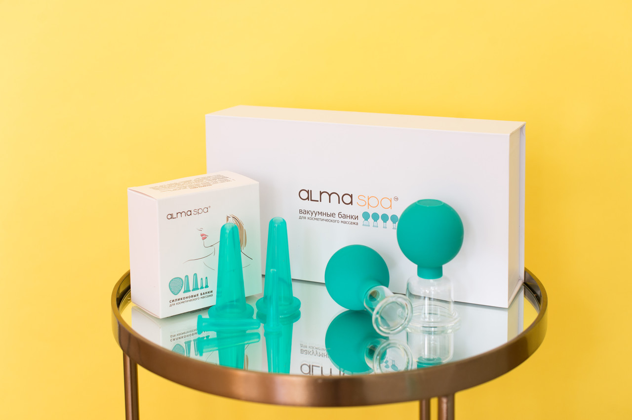 Силиконовые вакуумные баночки для массажа лица + спонжик - фото 3