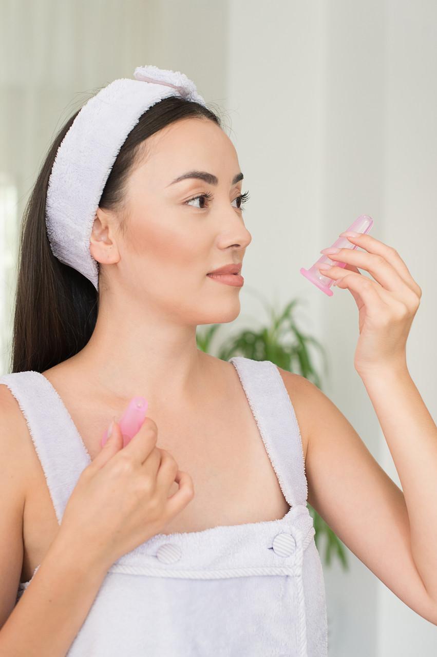 Силиконовые вакуумные баночки для массажа лица + спонжик (розовые) - фото 3