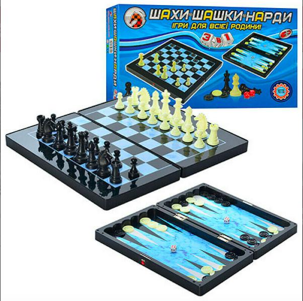 Шахматы, магнитные, 3в1, пластик - фото 4