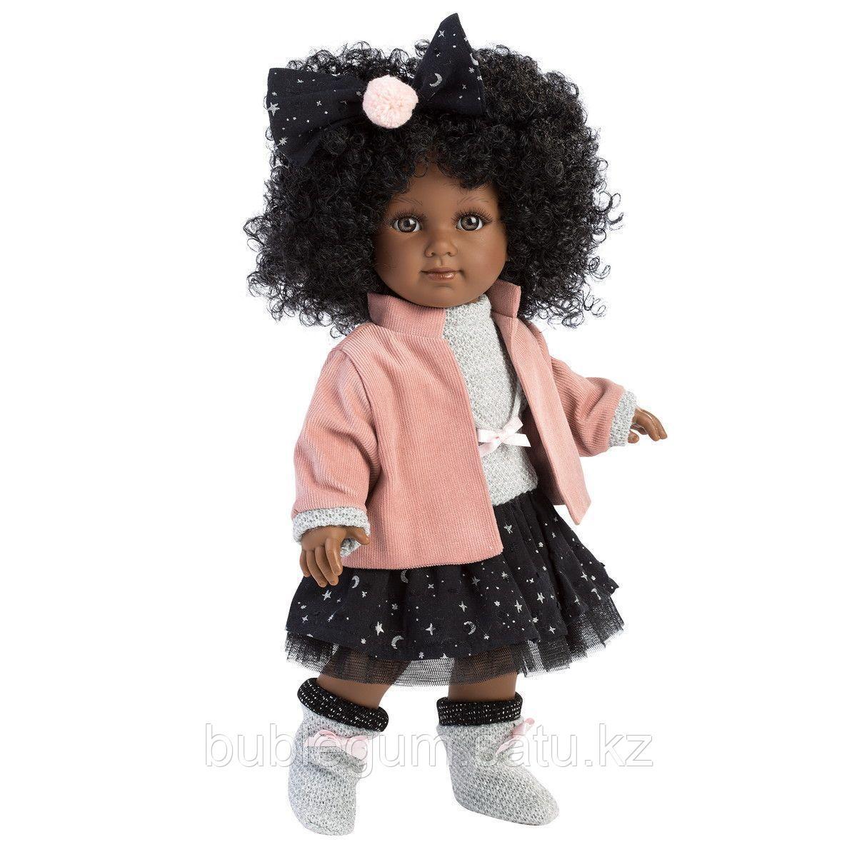 LLORENS:Кукла Зури 35см, мулатка в розовом жакете и черной кружевной юбке