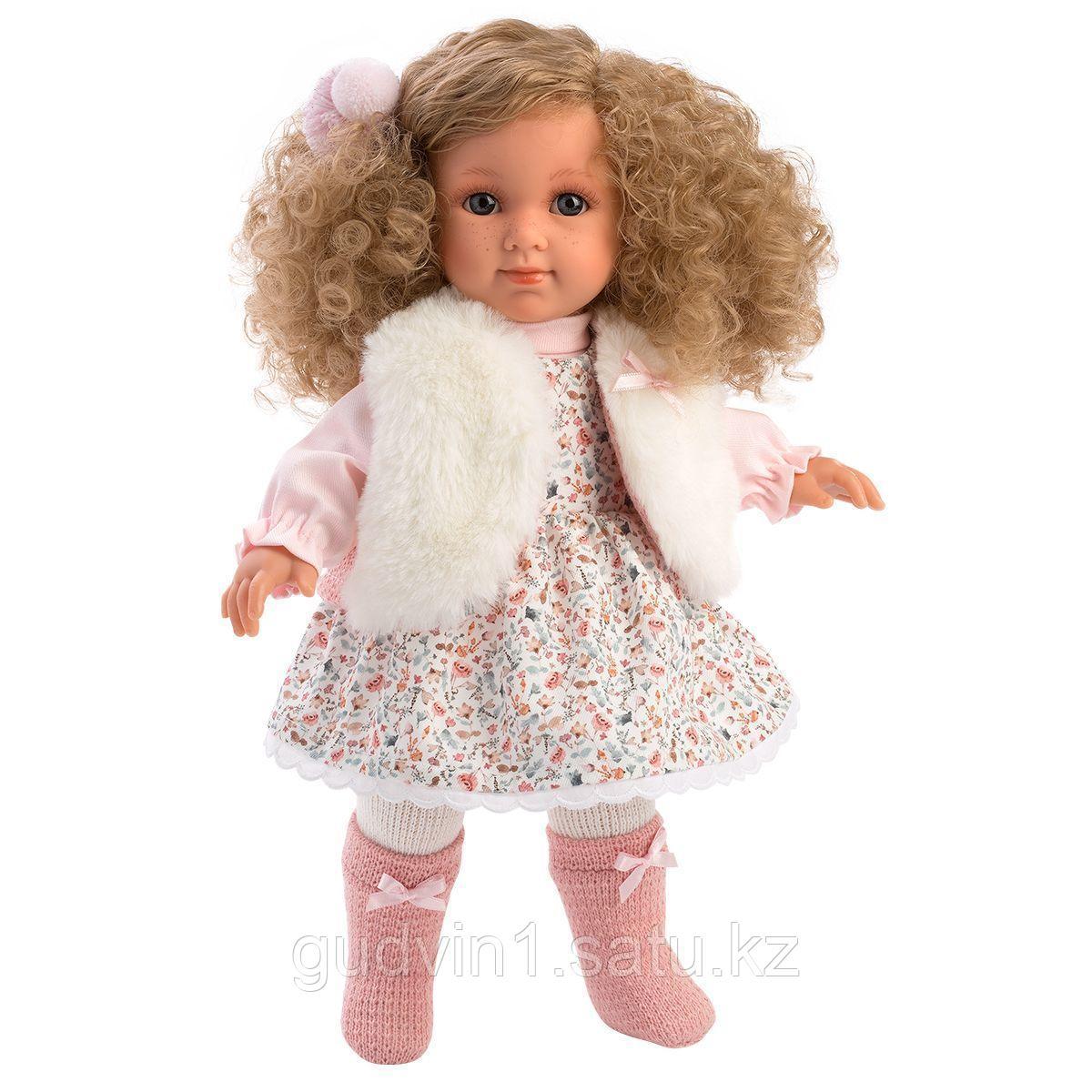 LLORENS: Кукла Елена 35 см., блондинка в меховом жилете 53530