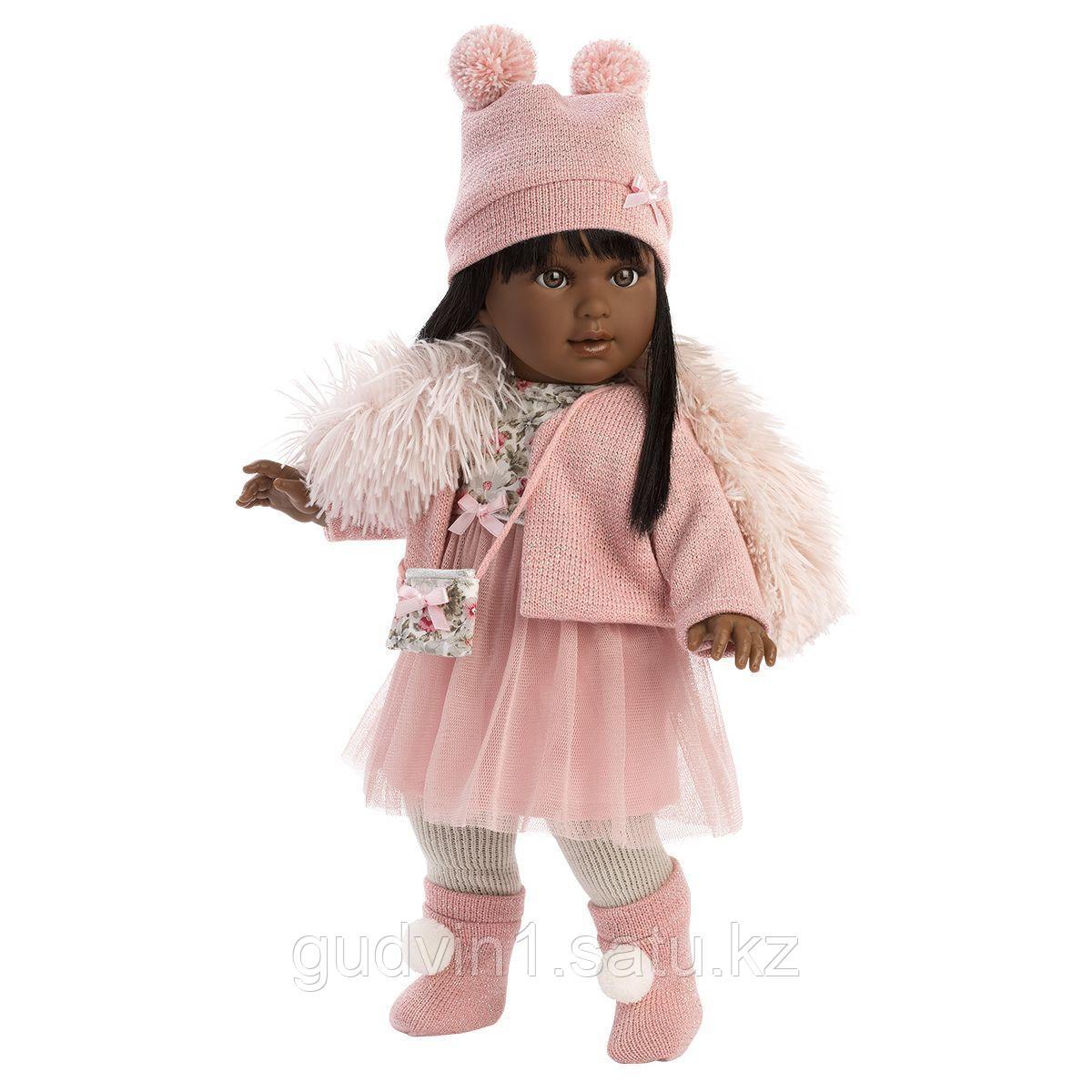 LLORENS: Кукла Мартина 40 см., мулатка в розовом пальто и шапочке 54031