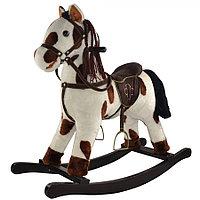 Качалка-лошадка Pituso белый с коричневыми пятнами