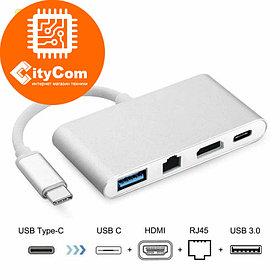Адаптер (переходник) USB-C to HDMI/RJ45 + USB-C out + 1*USB 3.0 Adapter Арт.5696