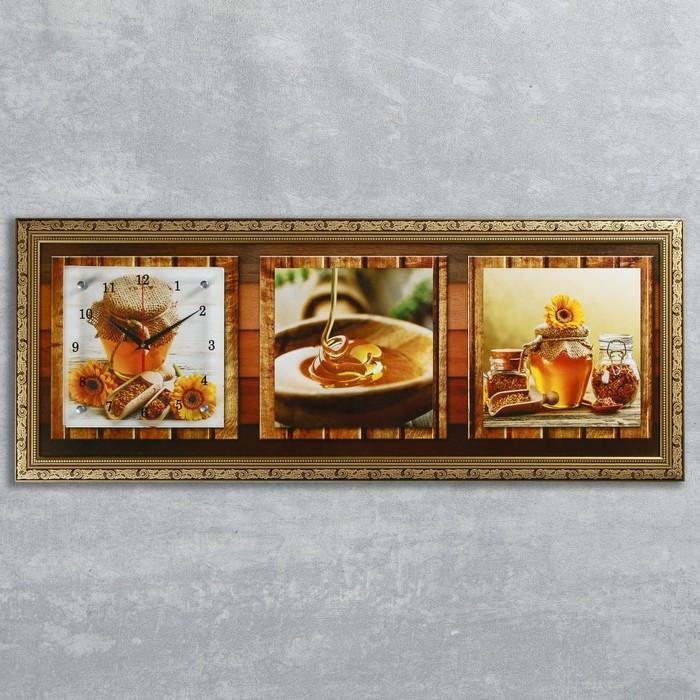 """Часы-картина настенные, серия: Кухня, """"Медовая фантазия"""", 35х100  см, микс"""