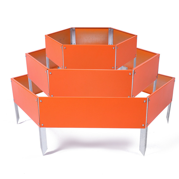 Клумба оцинкованная, 3 яруса, d = 60 – 80 – 100 см, h = 45 см, оранжевая