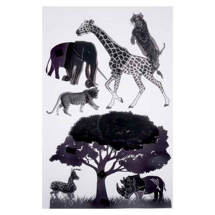 "Наклейка пластик интерьерная 6D ""Африка/Птицы"" МИКС 65х36 см"