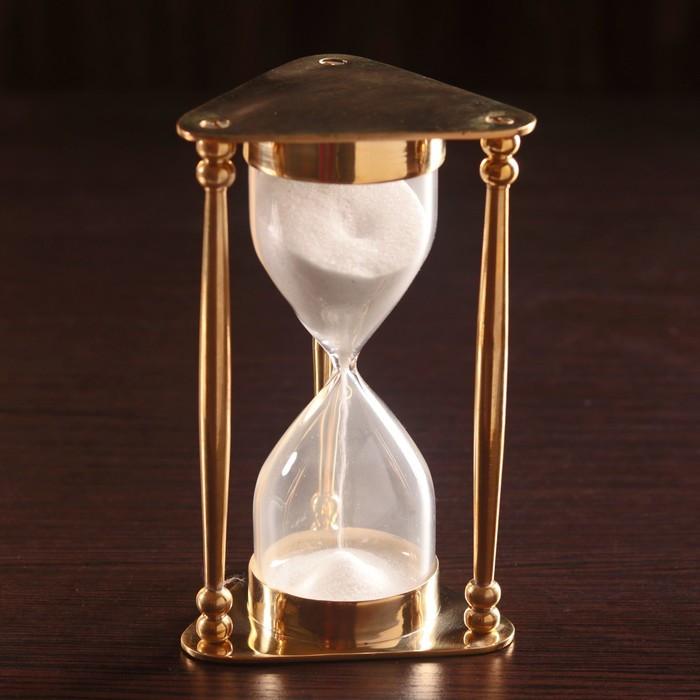 """Песочные часы """"Меланта"""" латунь, стекло (5мин) 8х8,5х14,5 см"""