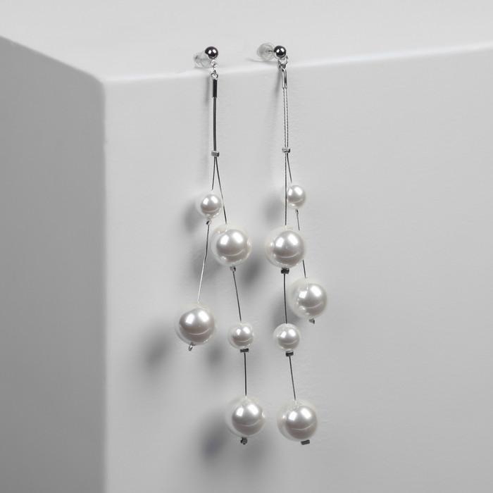 """Серьги с жемчугом """"Нимфа"""" на ниточке, шар 12, цвет белый в серебре"""