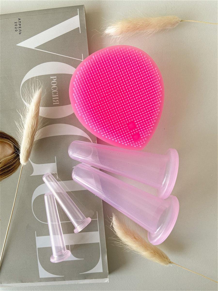 Силиконовые вакуумные баночки для массажа лица + спонжик (розовые) - фото 1