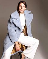 Шуба из натуральной стриженой овечьей шерсти, длина 115 см,  голубой   цвет