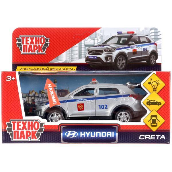 ТехноПарк Металлическая инерционная модель Hyundai Creta, Полиция, 12 см.