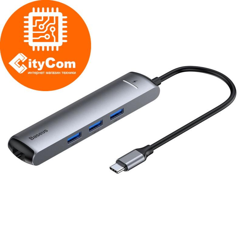 """Baseus USB type-C HUB CAHUB-JOG """"6 in 1"""", 2xUSB 3.0, 1xLAN, 1xHDMI Арт.6091"""