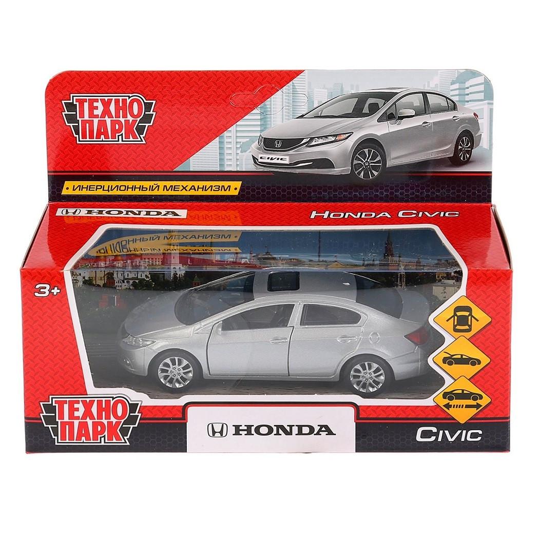 ТехноПарк Металлическая инерционная модель Honda Civic, серебристый, 12 см.