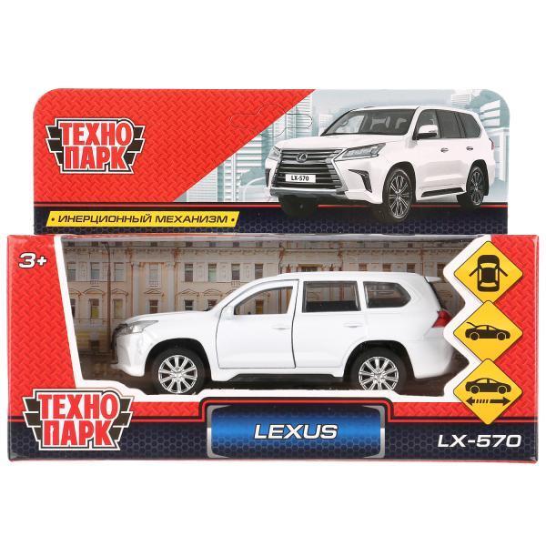 ТехноПарк Металлическая инерционная модель Lexus LX570, белый, 12 см.
