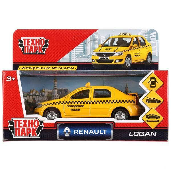 ТехноПарк Металлическая инерционная модель Renault Logan, Такси, 12 см.