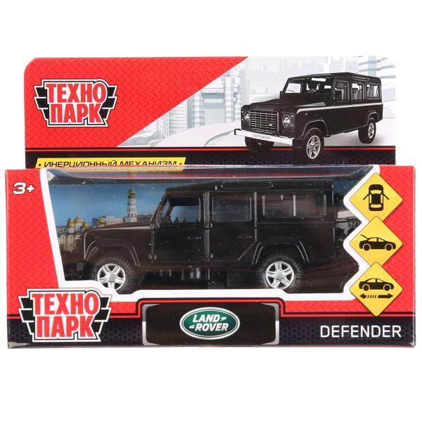 ТехноПарк Металлическая инерционная модель Land Rover Defender, чёрный, 12 см.