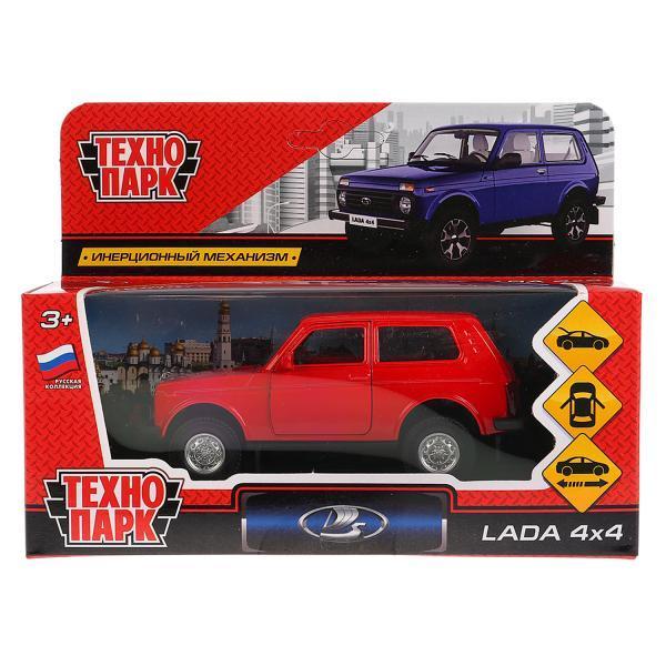 ТехноПарк Металлическая инерционная модель Lada 4x4 Нива, красный, 12 см.
