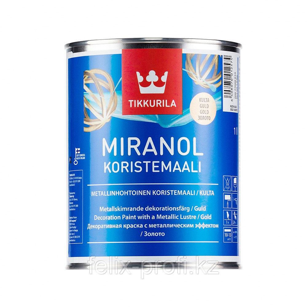 Краска декоративная MIRANOL серебристая п/мат 1л.