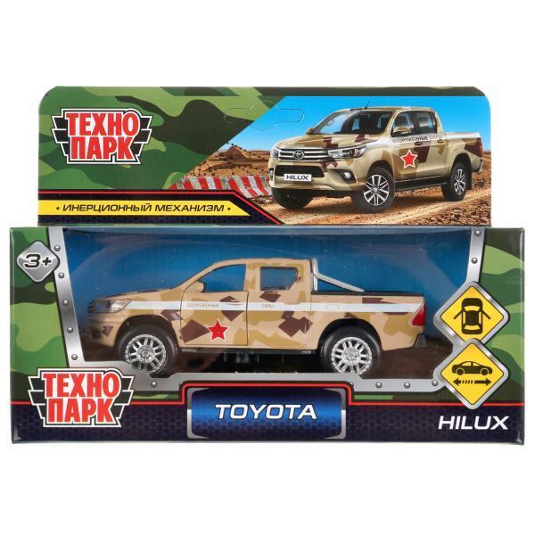 ТехноПарк Металлическая инерционная модель Toyota Hilux, Камуфляж, 12 см.