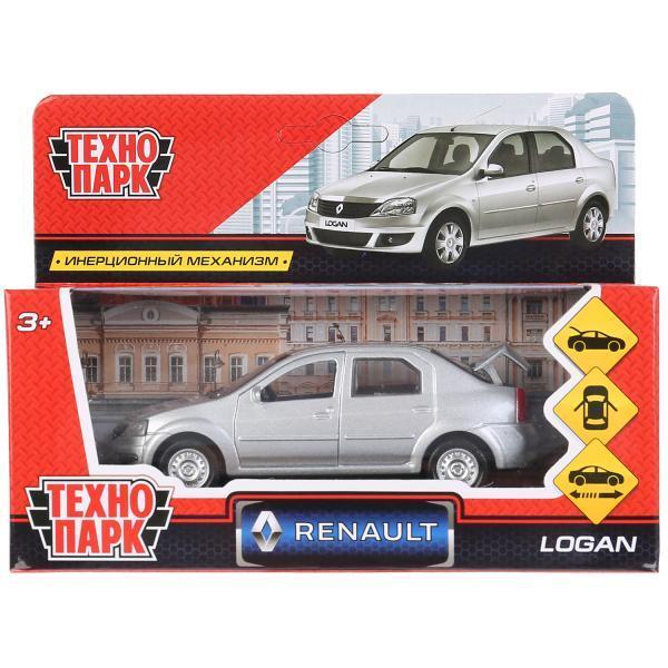 ТехноПарк Металлическая инерционная модель Renault Logan, серебристый, 12 см.