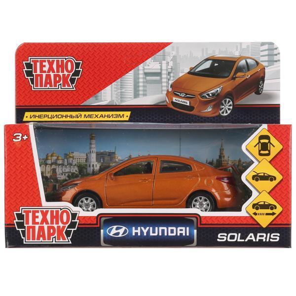 ТехноПарк Металлическая инерционная модель Hyundai Solaris, золотой, 12 см.