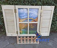 """Фальш-окно для стильного интерьера """"Натуральное дерево"""""""
