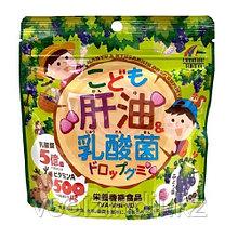 Жевательные витамины для детей Кисломолочные бактерии и рыбий жир, Unimat Riken со вкусом винограда. 90 шт