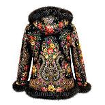 Куртка с мехом из павловопосадского платка, фото 2