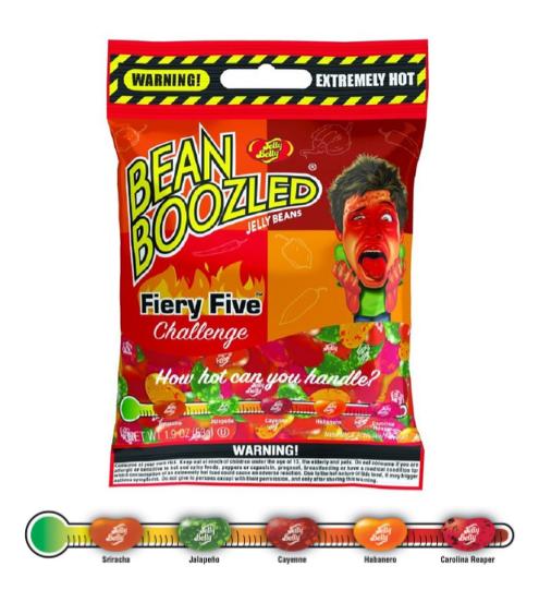 Драже жевательное  BEAN BOOZLED Flaming Five МЕГА ЖГУЧИЙ  54гр пакет Jelly Belly / США