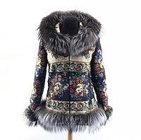Куртка с мехом черно-бурой лисицы