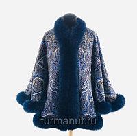 Куртка из павловопосадского платка с мехом песца