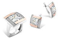 Современный классический набор из серебра с золотом. Также работаем оптом. Условия и цены уточняйте.
