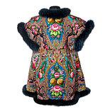 Жилетка из павловопосадского платка «Миндаль» с мехом, фото 2