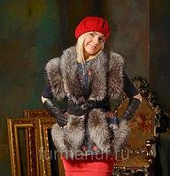 Меховая жилетка с мехом лисицы серебристо-чёрной