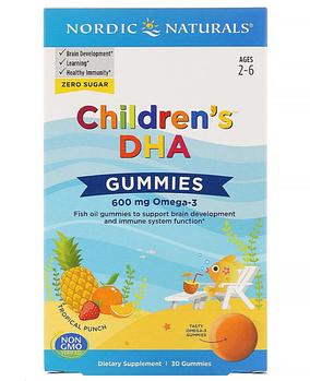 Nordic Naturals, Children's DHA, жевательные таблетки с ДГК, со вкусом тропических фруктов, 600 мг