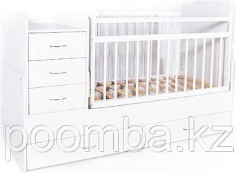 Кровать-трансформер детская Bambini Белая фасад ящиков МДФ