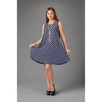 Платье женское, цвет синий/горох и крапинка, размер 46-48