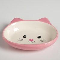 Миска керамическая овальная 'Кошачья мордочка' 200 мл, розовая