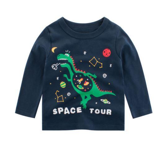 Кофта детская, с динозавром, цвет темно-синий, 100см