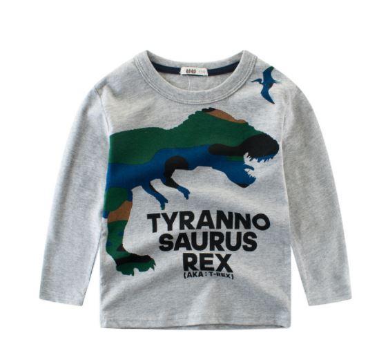 Кофта детская, с динозавром, цвет серый, 110см, 120см