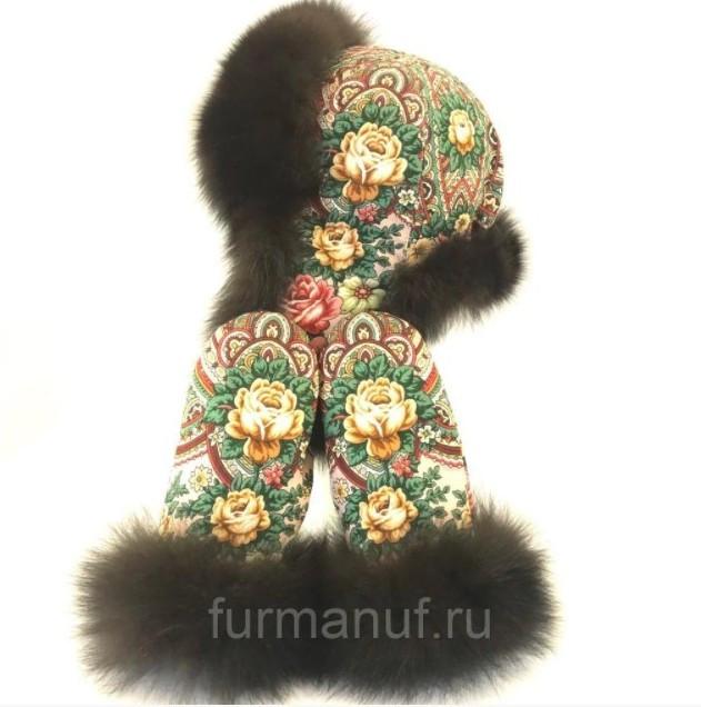 Шапка и варежки в русском стиле