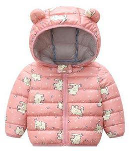 Куртка осенняя, цвет розовый, со слониками