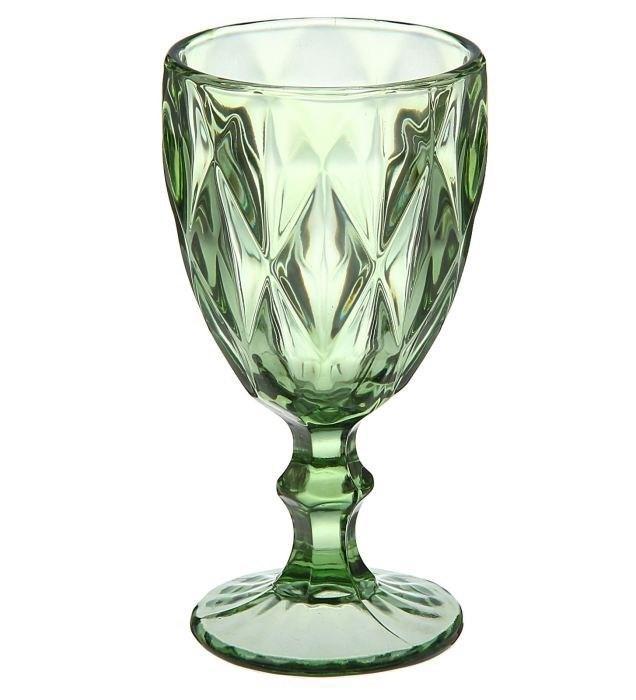 Набор фужеров для напитков с рельефным декором 320 мл. зеленый (6 шт.)