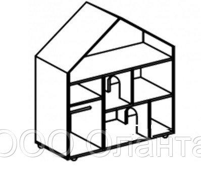Стеллаж для игрушек ДОМИК ДЛЯ КУКОЛ (1200х400х1170 мм) арт. СДК1