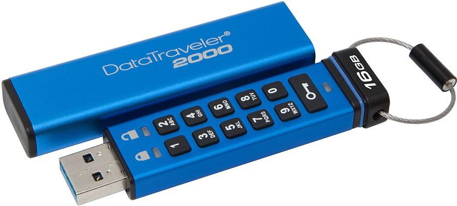 Kingston DT2000/16GB USB-накопитель 16GB с функцией шифрования 3.1 металл